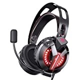 Gaming Headset for PS4, Gaming Headphones with 7.1 Surround Sound, Xbox One Headset with Noise Canceling Mic LED Light, Over-Ear Headphones for PS4/PS5, Xbox One, PC, Mac, Laptop (Black)