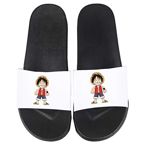 Pantofole Ciabatte da Mare Donne Uomini Casa Piatto Slide Bagno Doccia Sandali per Cosplay Anime Giapponese ONE PIECE Monkey D.Rufy Ragazzi Ragazze Scarpe da Spiaggia e Piscina,Bianca,43/44EU