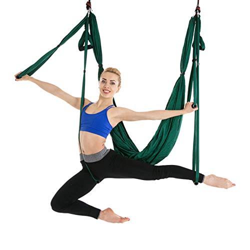 WOERD Kit trapecio para yoga y columpio de interior, para deportes, para yoga aéreo, ejercicios de inversión, con 2 correas de extensión, color verde oscuro