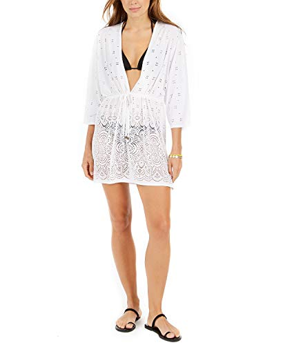 Dotti Gypsy Gem Drawcord Waist Tunic Cover-Up White MD