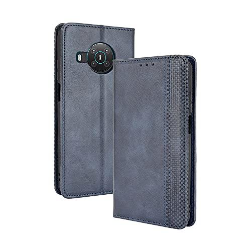 GOGME Leder Hülle für Nokia X10 | X20 Hülle, Premium PU/TPU Leder Folio Hülle Schutzhülle Handyhülle, Flip Hülle Klapphülle Lederhülle mit Standfunktion und Kartensteckplätzen, Blau