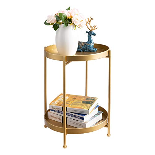 """HollyHOME 2-Tier Round Metal End Side Table, Accent Anti-Rust Waterproof Simplistic Sofa Table, Modern Tray Outdoor&Indoor Folding Coffee Table, (D) 15.75"""" x(H) 20.47"""", Golden"""