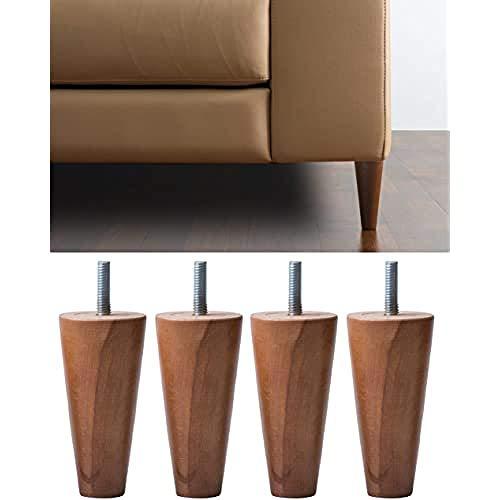 IPEA 4X Gambe in Legno a Cono per Divani, Mobili, Armadi – Set di 4 Piedi per Poltrone-Varie Dimensioni Piedini Colore Noce, Altezza 60 mm