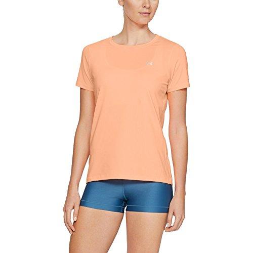 Under Armour Women's HeatGear Short Sleeve, Peach Horizon (906)/Metallic Silver, Small