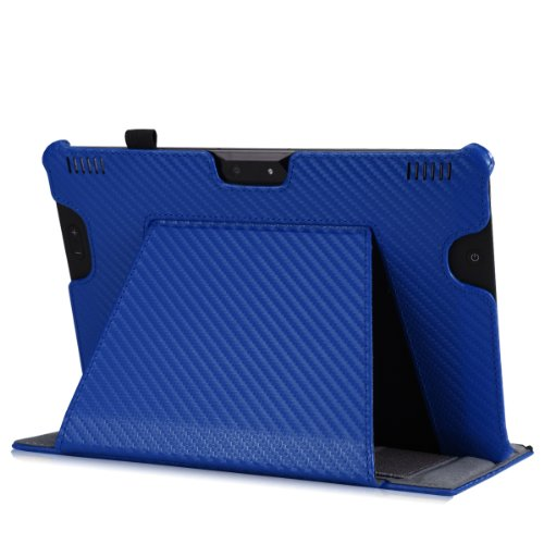 """MoKo Case for Amazon All-New Kindle Fire HDX 8.9"""" - Slim-Fit Multi-angle Stand Cover Case for Kindle Fire HDX 8.9 Inch 2014 Generation and 2013 Gen Tablet, Carbon Fiber BLUE"""