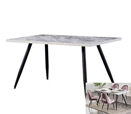 AINPECCA Dining Table with Black Metal Legs Kitchen Table (White Marble Effect Top, 150 * 90cm)