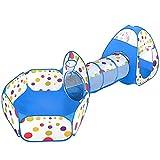 MAIKEHIGH Tienda Campaña Infantil, 3 en 1 Plegable Pop-up Piscina de Bolas con Tunel para Regalo de Cumpleaños para Niños Niñas en el Exterior Azul (Pelota No Incluida)