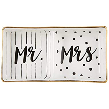 Kate Aspen Mr and Mrs Ring Dish, Wedding Gift, White and Black