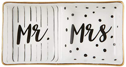 Kate Aspen Mr and Mrs Ring Dish, Wedding Gift, White and Black