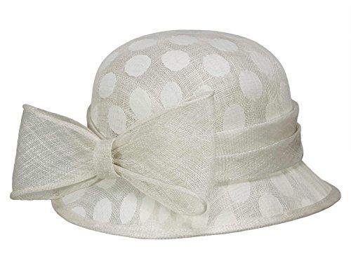 LOEVENICH SD-2258 Damen Hut Cloche aus Stroh - Offwhite (Creme) - One Size