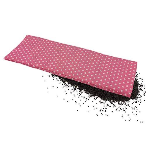 Körnerkissen 60x20 cm Mikrowelle groß für Nacken, Schulter & Rücken Raps-Samen-Körner-Kissen Wärme-Kissen - rosa Sternen - Stern-Motiv für Damen, Frauen & Mädchen - abnehmbarer Bezug