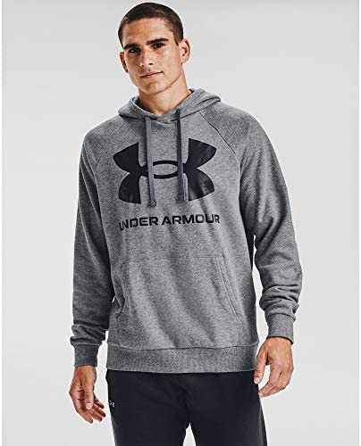 Under Armour Men s Rival Fleece Big Logo Hoodie Pitch Gray Light Heather 012 Black Large product image