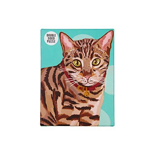 Rompecabezas de Gato 100 Piezas de Doble Cara Mascotas, Animales para niños, Adultos, Gatos Amante, cumpleaños, Navidad, Color (PUZZ Cat Bengal)