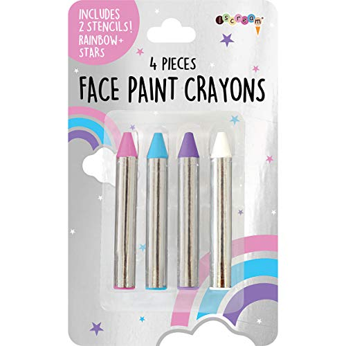 iscream Unicorns and Rainbows 4-piece Multicolor Face Paint Crayon Set with Stencils