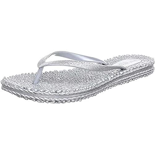 Ilse Jacobsen Damen Sandalen flach   Flip Flops mit Riemen   Schuhe mit Sohle aus Bast   Glitter Look   CHEERFUL01 ,37 EU,Silber