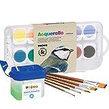 PRIMO Juego de cajas de acuarela – 12 colores, color blanco, pincel, vaso de agua – Opciones