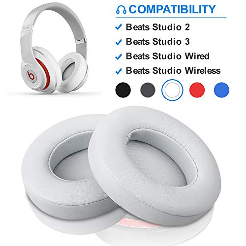 Beats Studio Replacement Ear Pads by Link Dream - Replacement Ear Cushions Kit Memory Foam Earpads Cushion Cover for Beats Studio 2.0 Wired/Wireless B0500 / B0501 & Beats Studio 3.0, 2 Pieces (White)