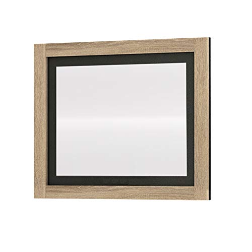 duehome Espejo de Pared, Espejo Mural con Luna, Modelo Lara, Acabado en Color Cambria y Grafito, Medidas: 75 cm (Ancho) x 90 cm (Alto) x 3,5 cm (Fondo)