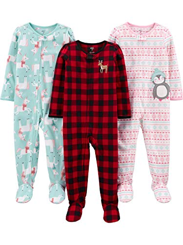 Simple Joys by Carter's 3-Pack Loose Fit Flame Resistant Fleece Footed Pajamas Infant-and-Toddler-Sleepers, Büffelkaro/Pinguin/Einhorn, 4 Jahre, 3er-Pack