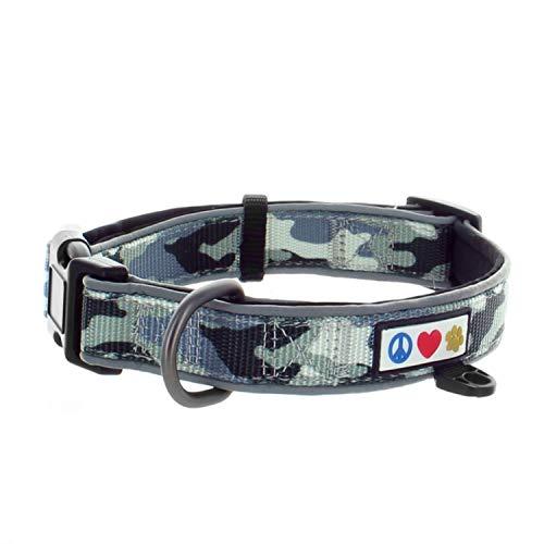 Pawtitas Camouflage Dog Collar Padded Dog Collar Reflective Dog Collar Puppy Collar Training Dog Collar Medium Dog Collar / Large Dog Collar Camo Grey Dog Collar