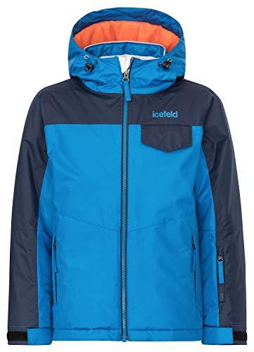 icefeld Kinder Winterjacke/Skijacke mit Kapuze für Mädchen und Jungen, blau in Größe 140