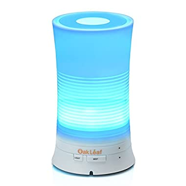 Essential Oil Diffuser, Oak Leaf Aromatherapy Diffuser Ultrasonic Cool Mist Aroma Air Humidifier with 7 Color Changing LED Lamps,Waterless Auto,100ml