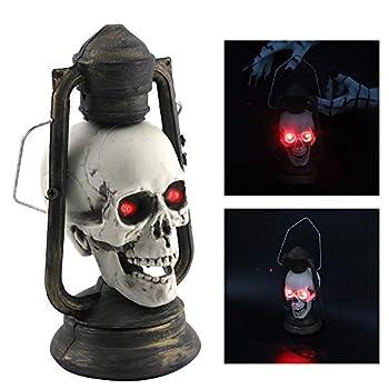 Cliramer 2019 LED Skull Lantern Glowing Eyes Creepy Hanging Lamp Halloween Decor Props Skull Head Ghost Lights Haunters Pirate Spooky Light Up Old Fashioned Black