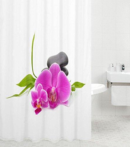 Duschvorhang Wellness 180 x 200 cm, hochwertige Qualität, 100% Polyester, wasserdicht, Anti-Schimmel-Effekt, inkl. 12 Duschvorhangringe