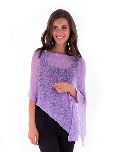 SHU-SHI Womens Sheer Poncho Casual Summer Shrug Bolero Lightweight Knit Lavender