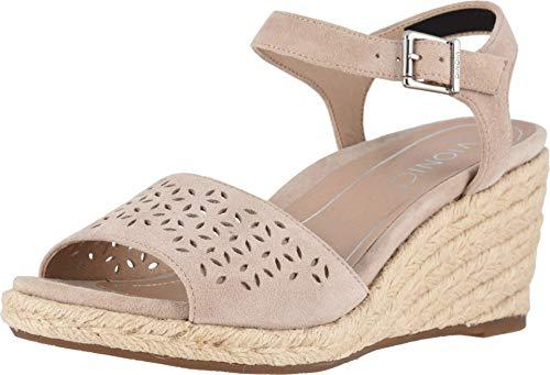 Vionic Women's Tulum Ariel Wedge Sandal - Ladies Espadrille Sandals Concealed Orthotic Support Nude 5 M US