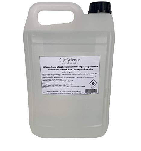 Orescience - Lotion Hydroalcoolique Bidon de 5 litres mains et surfaces sans rinçage