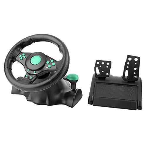 HKANG® Jeu De Course Volant pour Xbox 360 PS2 pour PS3 Ordinateur USB Voiture Volant 180 Degrés Rotation Vibration avec Pédales