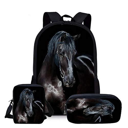 Nopersonality 3 PCS Set School Bags for Girls Teens Backpack Trendy Black Horse Animal Print Student Boys Bookbags Lightweight Junior Kids Rucksack