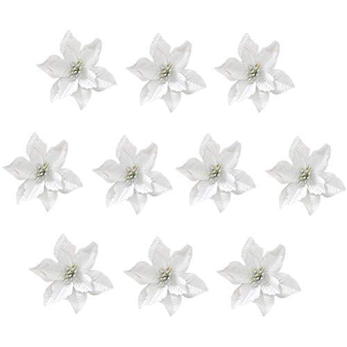 Healifty 24pcs Christmas Glitter Poinsettia Flowers Artificial Wreath Flowers for Xmas Tree Ornaments Decor (Silver)