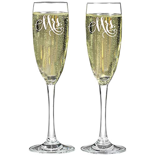 MRS and MRS Same Gender Wedding Glass Champagne Toasting Flutes, Reception or Engagement, Lesbian Couple, Set of 2