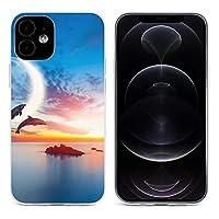 夕暮れ 海 イルカ iPhone 12&iPhone 12 Pro&iPhone 12Pro Max&iPhone 12 miniと互換性のあるクリスタルクリアTPUケース、アンチイエロー、保護耐衝撃落下保護ケース