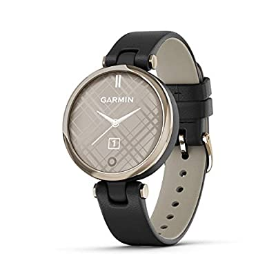 Garmin Lily, Small GPS Smartwatch with Touchscreen and Patterned Lens, Light Gold with Black Leather Band