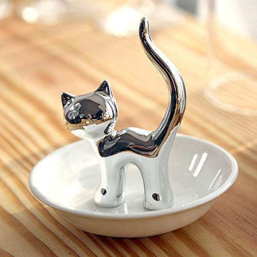 FairyLavie Silver Cat Ring Holder Ring Dish Jewelry Holder Rings Bracelets Earrings Trinket Tray for Women Girls Birthday Gift