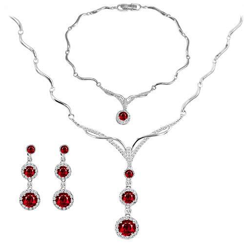 BiBeary Rosso Zircon Parure di Gioielli per Donna Elegant Bridal Pendant Collane Orecchini Set