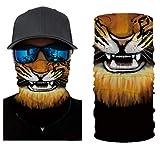 Andouy Face Shields Bedrucktes Multifunktionstuch Damen Herren Elastische Halstuch Nahtlose Schlauchtuch UV Schutz für Yoga Radfahren Motorradfahren(25X50CM.O)