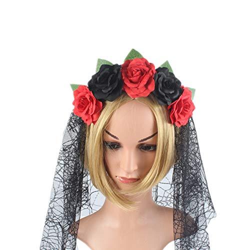 Cintas de Pelo para Mujer, Simulación De Rojo Y Negro Rosa Flor Diadema Prom Telaraña Halloween Party Bruja Maquillaje Sombreros, Suave Cabeza Envuelva Hairband Novedad Accesorios De Cabello F