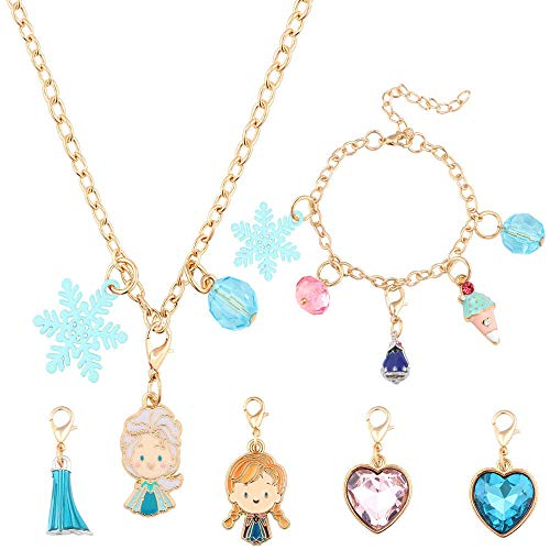 Tacobear Frozen ELSA Halskette Armband Basteln Set für Mädchen ELSA Anna Charm DIY Kinderschmuck Kreativ Geschenk Kinderschmuck Exquisit Frozen Armband Halskette Geschenk für Mädchen