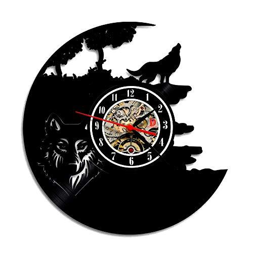 Meet Beauty Ding The Wolf - Reloj de pared con disco de vinilo para colgar en la pared, diseño de perro con texto en inglés 'The Wolf'