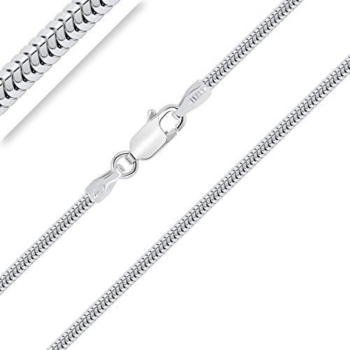 PLANETYS - Leicht Schlangenkette 925 Sterling Silber Rhodiniert Kette - Halskette - 2 mm Breite Längen: 60 cm