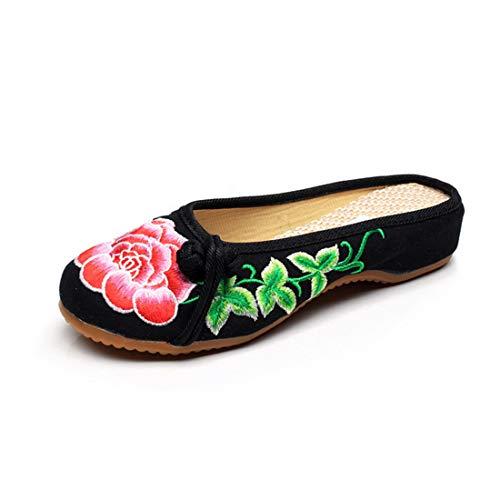 MUCHAO Frauen Bestickte Hausschuhe Lässige Blumenmuster Hausschuhe Bunte Tuch Sandalen Schuhe