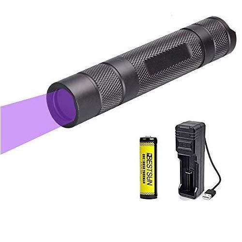 Linterna UV 365nm, BESTSUN Linternas Ultravioleta Recargable 5W UV Luz para detección de falsificaciones Verificación de documentos Fotografía e identificación de fluidos corporales