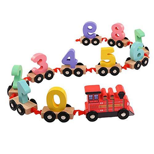 L'éducation précoce Puzzle en Bois assemblé Transport Intelligent bâtiment Puzzle Jouet Voiture Voiture Enfants en Bois numérique Petit Train Jouet,Red