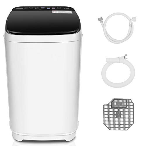 Nictemaw Full Automatic Portable Washing Machine,2-in-1 Combination Washer with 10 Programs and 8 water levels, 1.45cu.ft/13.2 lbs Capacity, LED Display and Drain Pump, Ideal Laundry Washer for RVs, Dorm, Apartment (1.45cu.ft)