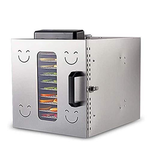 GSAGJsf Deshidratador de alimentos en niveles 12 estantes de acero inoxidable de secado eléctrica de múltiples funciones deshidratador de alimentos Máquina termostato comercial Fruit Secadora Secadora