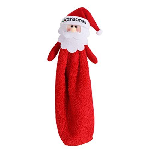 Amosfun - Toalla de mano de microfibra para cocina, baño, Navidad (Santa), Tela de franela, rosso, 29 * 13cm